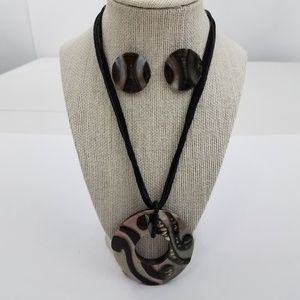 Mother Of Pearl Earrings Necklace Set Shell Black